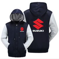 New SUZUKI Jacket Men Hoodies Winter Warm Thicken Coat Fleece Sweatshirts SUZUKI Logo Car 4S Shop Hoodies Zipper Hoodie Casual