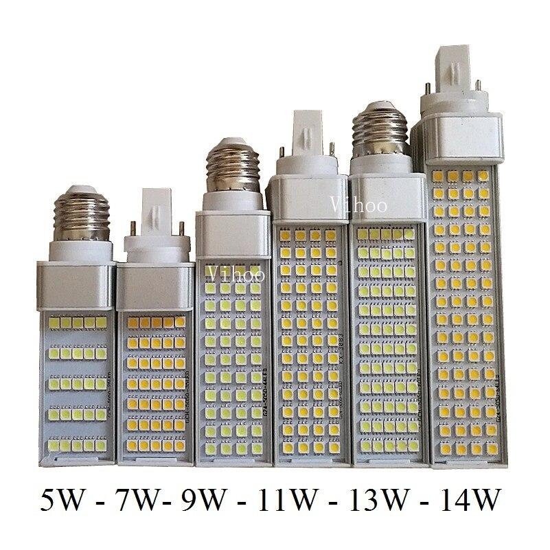 5w 7w 9w 11w 13w 14w G23 G24 E27 Led Lamp Bulb 5050smd Warm White Cool White 85v-265v Spotlight 180 Degree Horizontal Plug Light