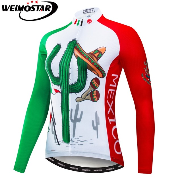 ed12fa0bd Mexico Cactus Women Cycling Jersey Ropa Ciclismo Long Sleeve Autumn MTB  Bike Wear Cycling Clothing Breathable Bicycle Clothes