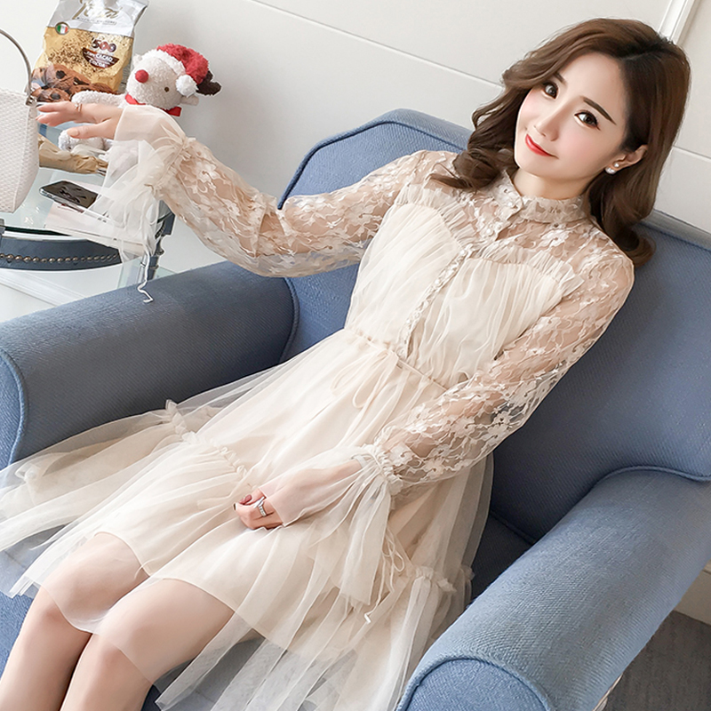 2018 Maternity Clothes Summer Spring Pregnant Women Skirt Lace Stitching Skirt Fashion Fairy Net Yarn Pregnant Woman Dress