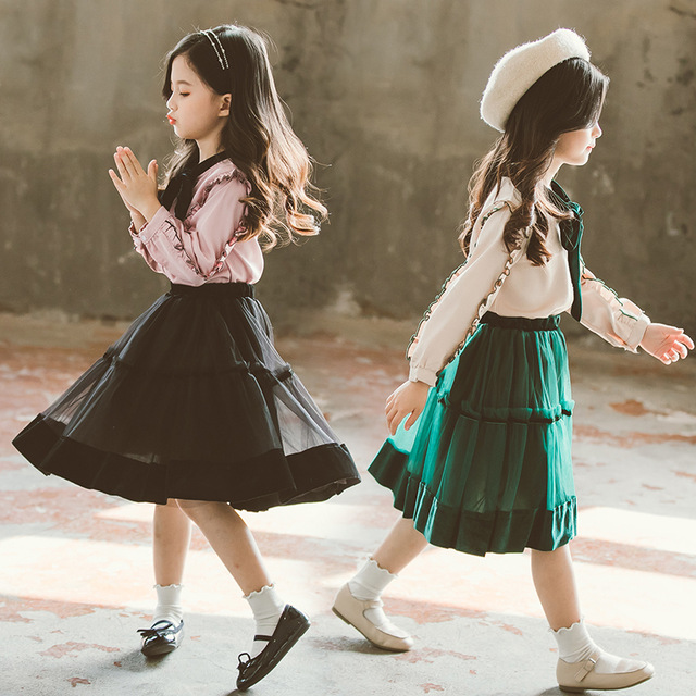 Girls Clothes Sets Spring Long Lace Sleeve Tie T shirt +Chiffon Skirt 2pc Suits Princess Clothes Sets Tracksuit Girls Clothing