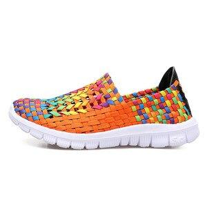 Image 2 - BEYARNESummer rahat ayakkabılar kadın için 2019 yeni kadın ayakkabısı el yapımı anne dokuma ShoesBreathable loaferlar üzerinde kayma FemaleFlatsE406