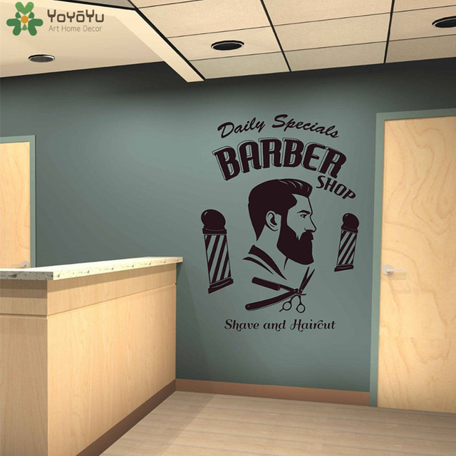 Barber Wall Sticker Vinyl Man Hairdresser Decal Window Decor Quote Removable Fashion Hairstyle Mustache Modern