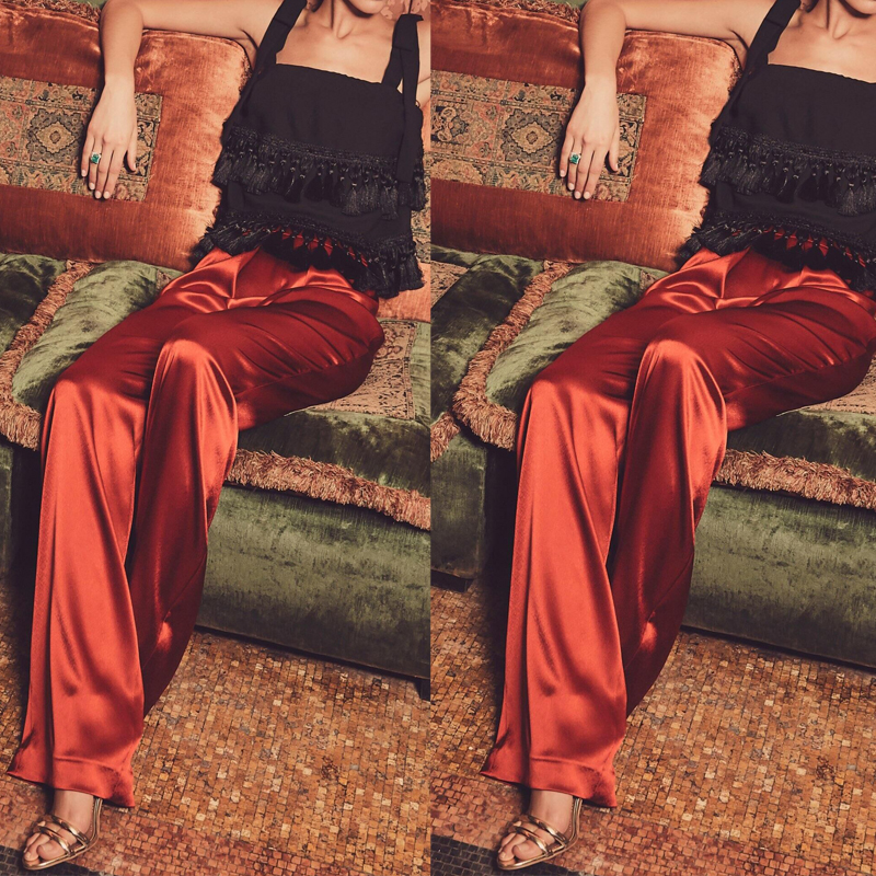 WBCTW Long Satin Loose Woman Pants Solid XXS-10XL Plus Size High Waist Casual 2018 Summer Spring Wide Leg Pants