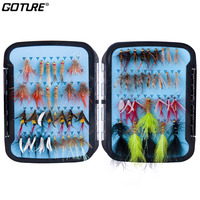 Goture 60pcs/set Fly Fishing Lure Kit Wet Dry Artificial Bait Bass Trout Carp Fishing Accessories Waterproof Box Fishing Lures