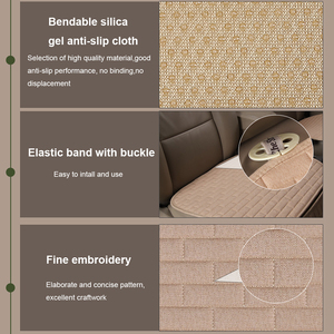 Image 5 - Dewtreetali 2018 Hot  Linen Fabric Car Seat Cover Four Seasons Front Rear Flax Cushion Breathable Protector Mat Pad