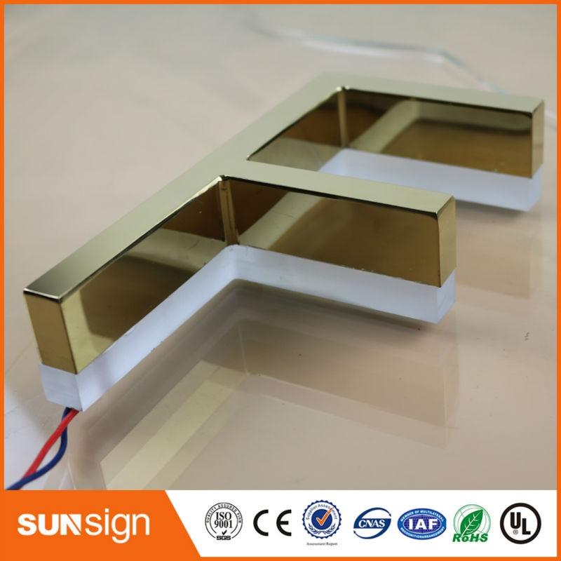 Aliexpress Gold Supplier Rose Gold Metal Backlit Led Letters