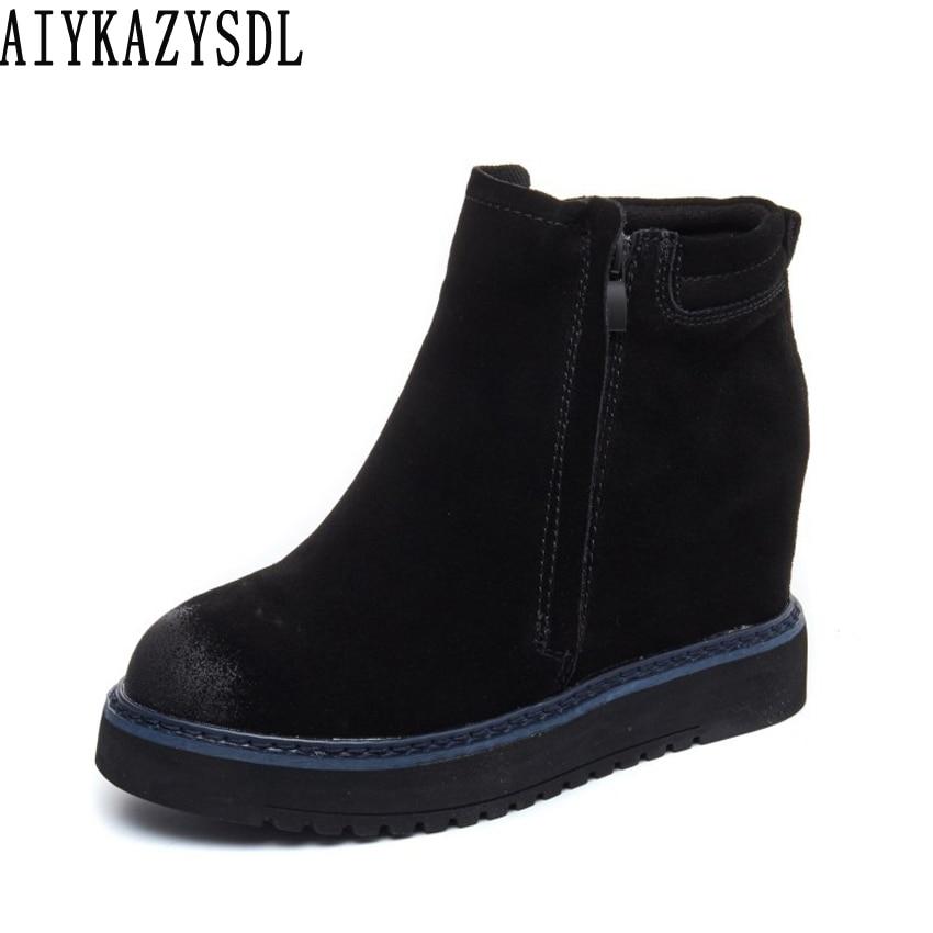 AIYKAZYSDL Women Warm Snow Boots Genuine Leather Bootie Chelsea Boots Wedge Hidden Heel Platform Plush Faux