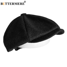 BUTTERMERE Tweed Flat Cap Men Dark Grey Newsboy Hats Male Autumn Solid Painter Vintage British Gatsby Ivy Duckbill