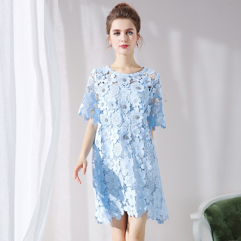New2018 Summer style fashion women beaded elegant lace dress Plus Size hollow out sexy casual vestido