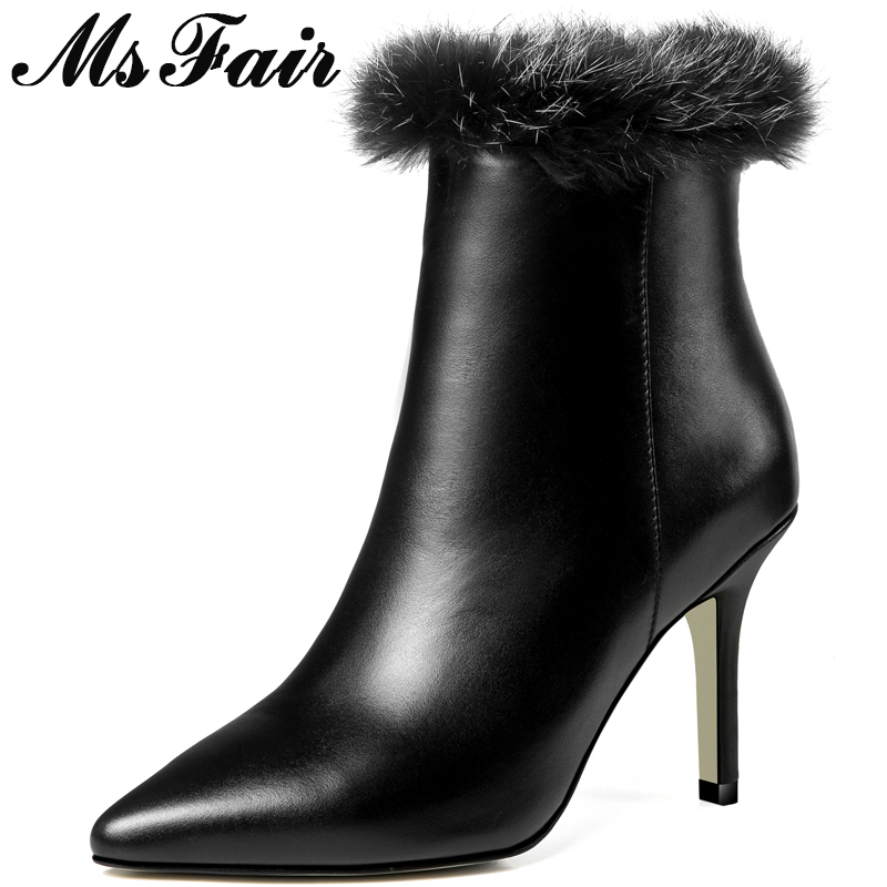 MSFAIR Women Boots 2018 Fashion Pointed Toe High Heel Ankle Boots Women Shoes Stiletto heel Metal Zipper Boot Shoes For Girl цена