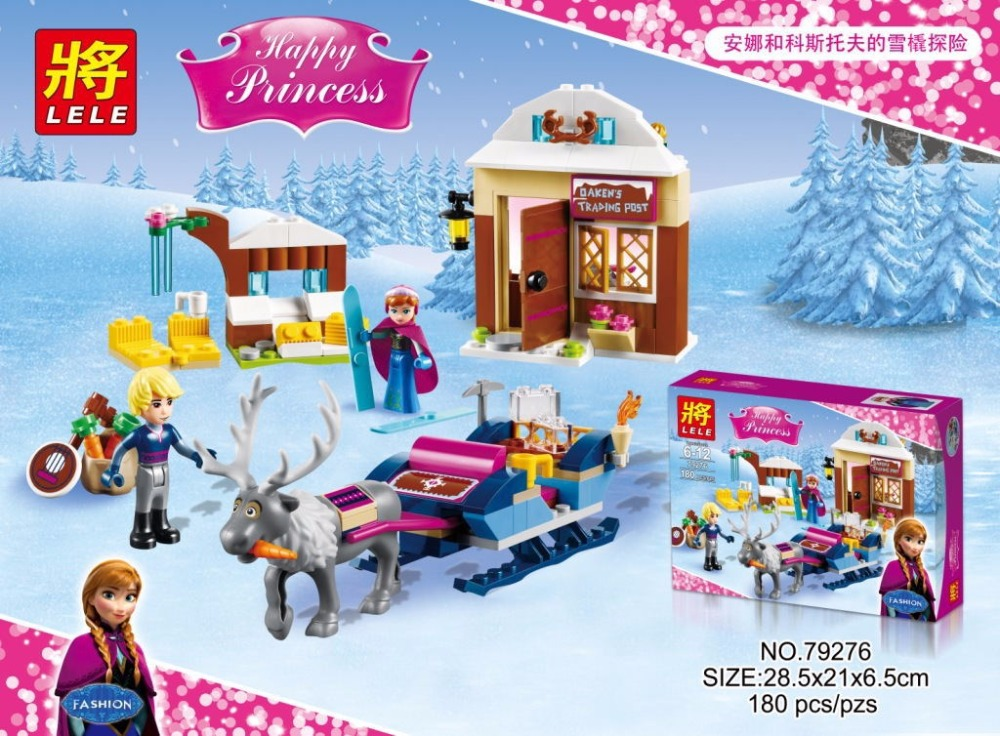SY372 LELE 79276 Ice Kingdom Realm Kristoff Princess Anna Sled Minifigures Building Compatible with font b