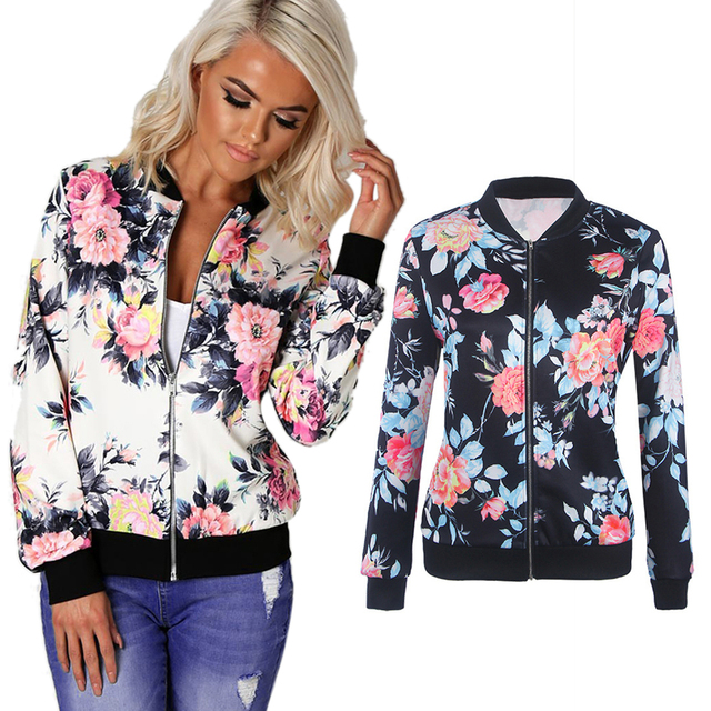 Women Basic Coats Autumn And Winter Floral Printed Bomber Jacket 2017 Vintage Long Sleeve Loose Female Coat Casual Girls Outwear 4