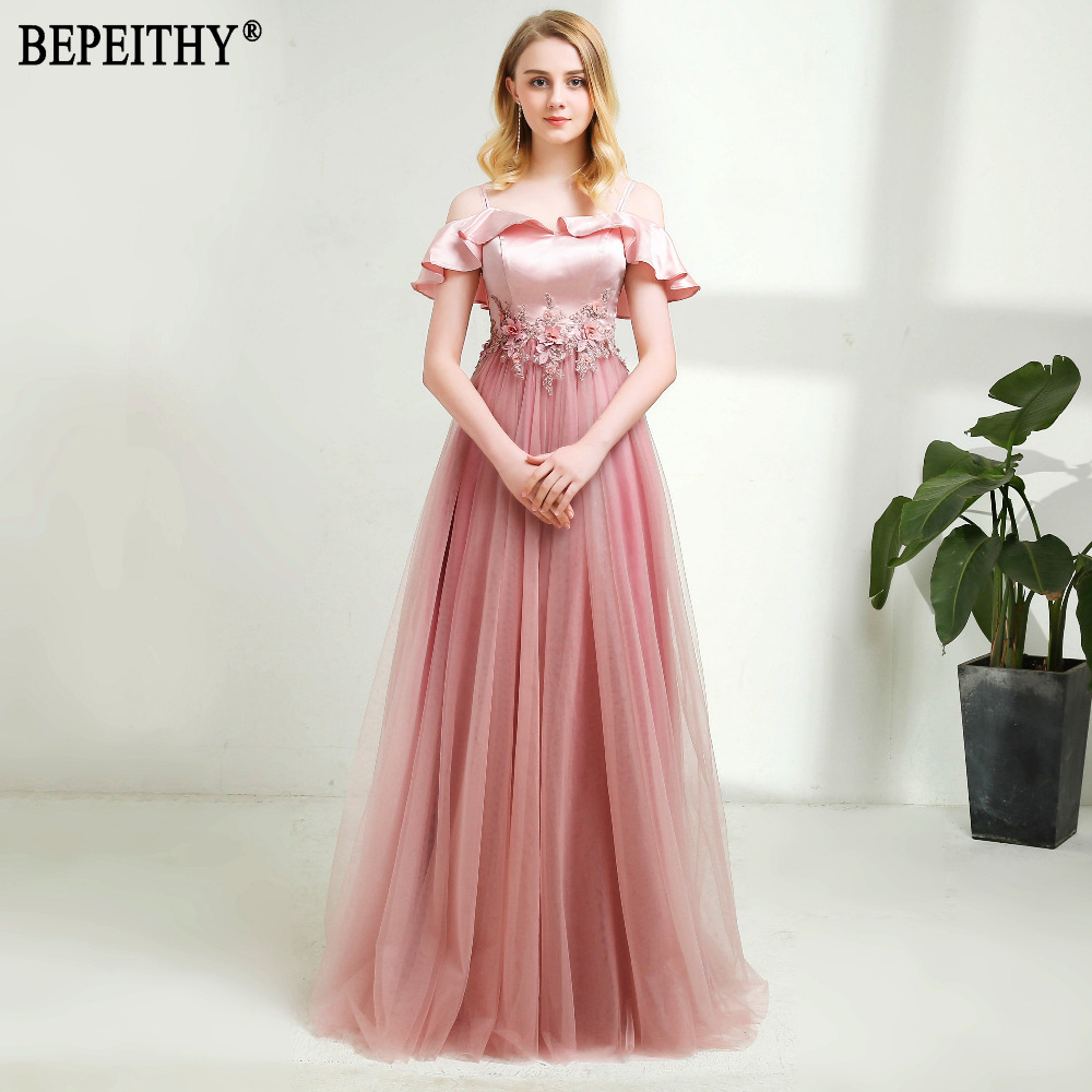 BEPEITHY Vestido De Festa New Design Boat Neck Appliques Beads Tulle ...