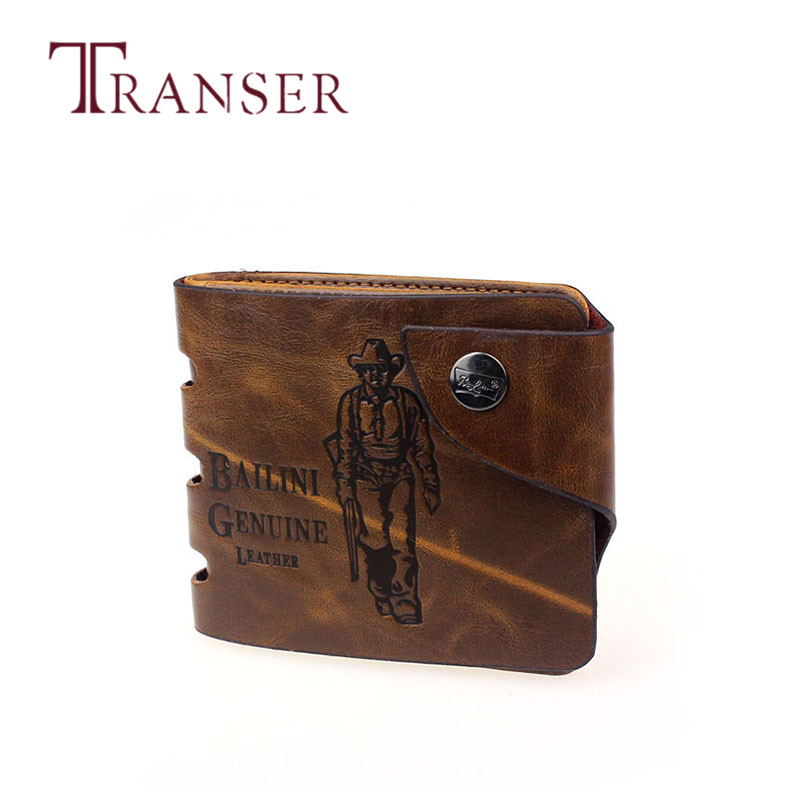 TRANSER Short Male Cow Leather New Mens Retro Genuine Leather Bifold Wallet Credit ID Card Slim Purse High Quality Brown Aug21 2016 new arrival fashion luxury retro zipper mens leather wallet credit id card purse short design clutch femininas brand card