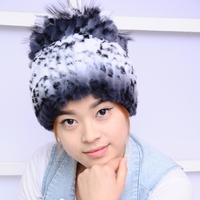 winter fashion thermal rex rabbit hair hat women's winter yarn fur cap