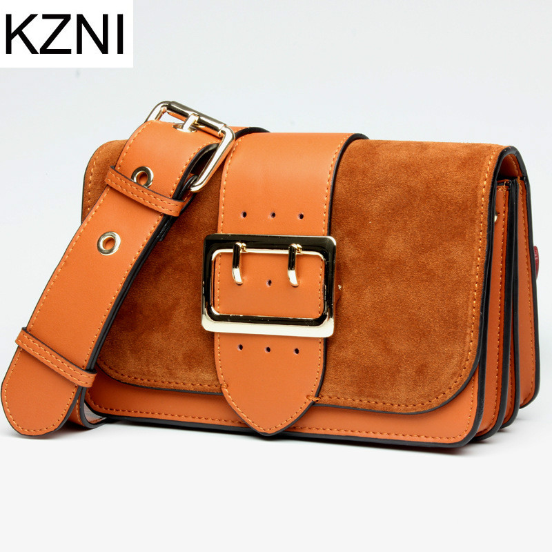 KZNI Genuine Leather Purse Crossbody Shoulder Women Bag Clutch Female Handbags Sac a Main Femme De Marque  L121803
