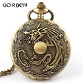Bronze Dragon Deadpool fullmetal alchemist Pocket Watch Necklace Chain vintage Quartz pocket Fob watches Men Relogio De Bolso