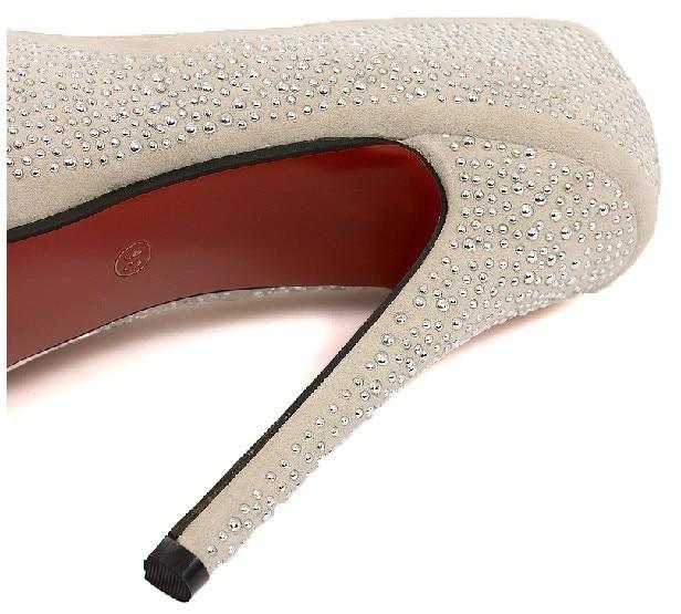66bd0d6b257 Free shipping Women s Sweet Crystal Platform Pumps Ultra High Heels Red  Bottom Wedding Shoes Black Beige-in Women s Pumps from Shoes on  Aliexpress.com ...