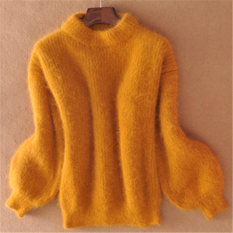 19 Winter New Fashion Thickened Warm Turtleneck Mohair Female Sweater Lantern Sleeve Casual Solid Color Slim Simple Pullover 7