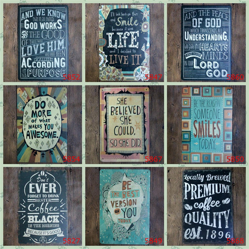 quotations of inspirational vintage metal signs metal wall plaques art plaque metal decorative. Black Bedroom Furniture Sets. Home Design Ideas