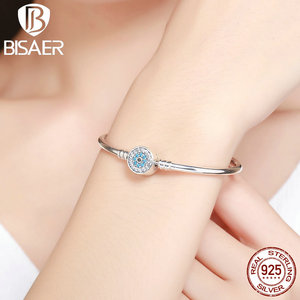 Image 2 - BISAER Real 925 Sterling Silver Blue Lucky Evil Eyes Blue Eye Femme Bracelets & Bangles for Women DIY Accessories Jewelry ECB012