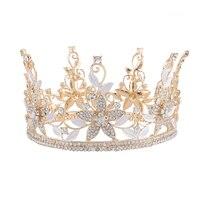 Королевский Золотой Полые Цветок Tiara Короны Полный Корона Свадебные Аксессуары Свадьба Волосы с Заколками HG00033