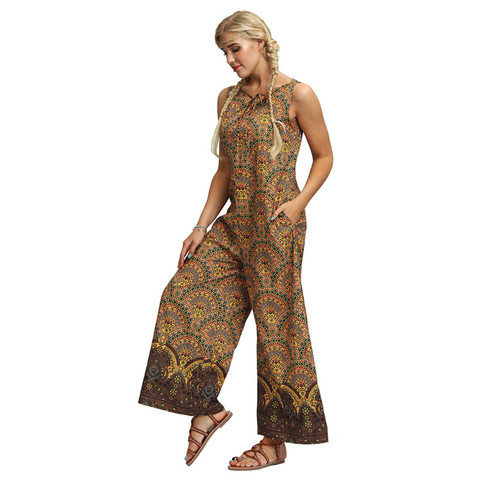 New Fashion Bohemian Women Jumpsuit Sexy Sleeveless Rompers Wide Leg Bodysuits Women Clothes Multan