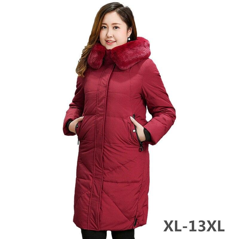 Super Grande gola de Pele de tamanho Para Baixo Mulheres jaqueta Casaco de Inverno Com Capuz Tops Plus Size XL-13XL Grosso pato Branco Quente para baixo casacos Feminino
