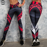 2019 Women Printed Yoga Pants Sportswear Push Up Workout Fitness Clothing Running Gym Sport Leggings Compression Tight Trouser