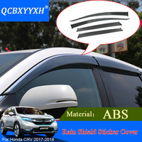 QCBXYYXH Car Styling Sun Visor ABS Awnings Shelters 4pcs/lot Window Visors For Honda CRV 2017 Sun Rain Shield Stickers Covers