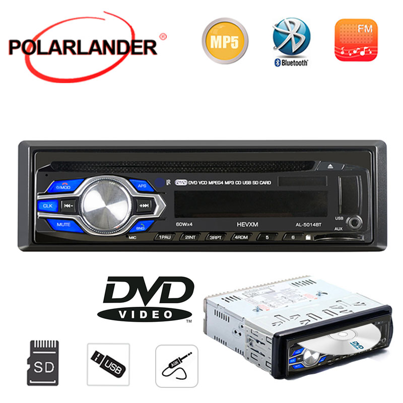 DVD Car Subwoofer Radio-Player Car-Audio Stereo Bluetooth MP3 CD 1 Aux-In-1 1-Din USB
