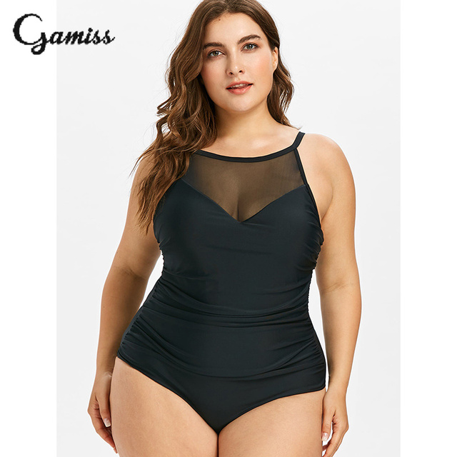 4caf8a6d555 Gamiss Plus Size One Piece Swimsuit Mesh Tummy Control Swimwear Women  Swimsuit Solid Thong Bodysuit Bathing