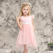 Infant Baby Girls Dresses Toddlers Flutter Sleeves Party Wears Big Bow Dresses Lace Mesh Frocks Age3 4 5 6 7 8 9 10T Years Old