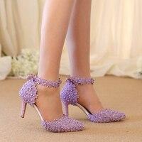 Ankle Strap Summer Sandals Handmade Lace Flower Women Middle Heels Bridal Wedding Shoes Adult Ceremony Pumps