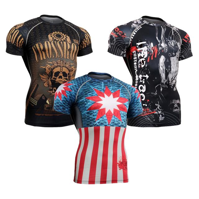 Homens Camisa De Compressão muscular 3D Impressos Camisetas Homens Rashguard Manga Curta Quick Dry Pano De Fitness Masculino Tops Halloween Abençoe