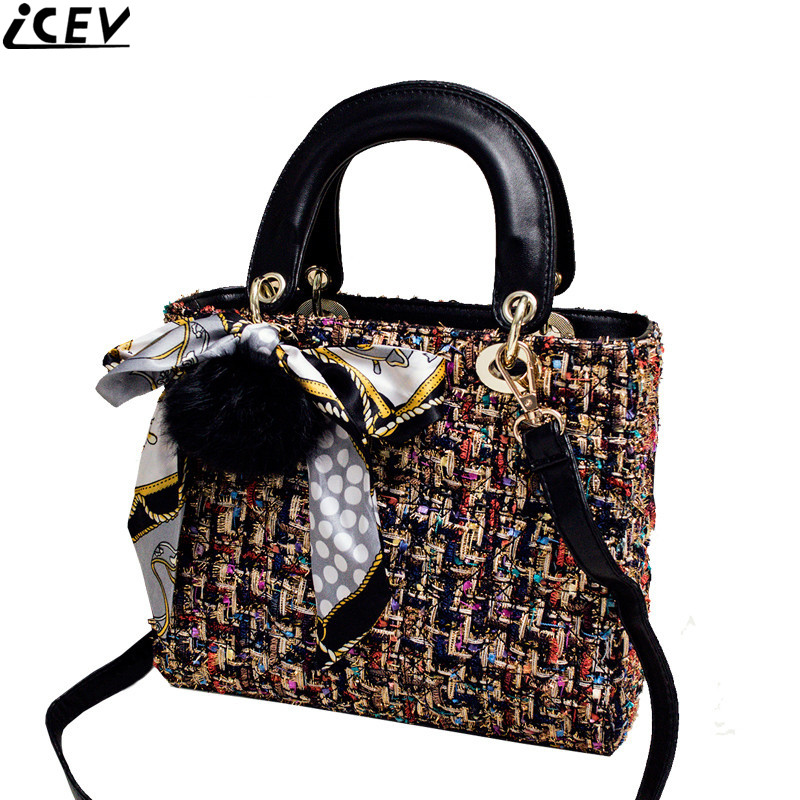ICEV high quality patchwork wool weave women messenger bag ladies leather chain crossbod ...