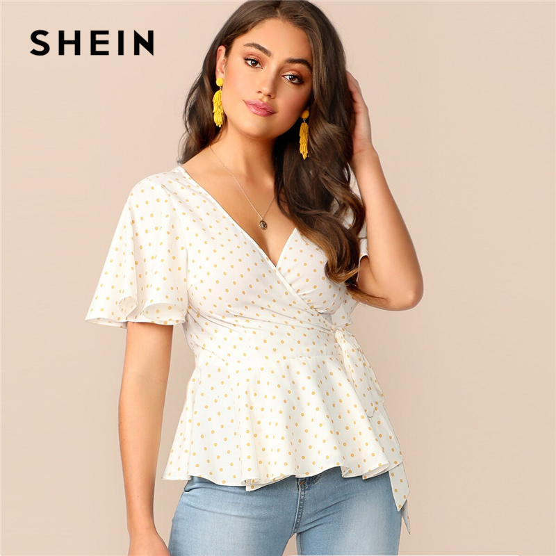 SHEIN Cutout Back Wrap Belted Peplum Dot Blouse 2019 Boho Short Sleeve Knot Women Summer V Neck Womens Tops And Blouses