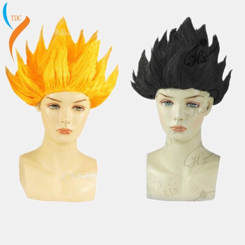 Alta qualidade goku cosplay perucas dragon balls super saiyan azul vermelho preto amarelo goku peluca anime homens adultos cabelo feminino