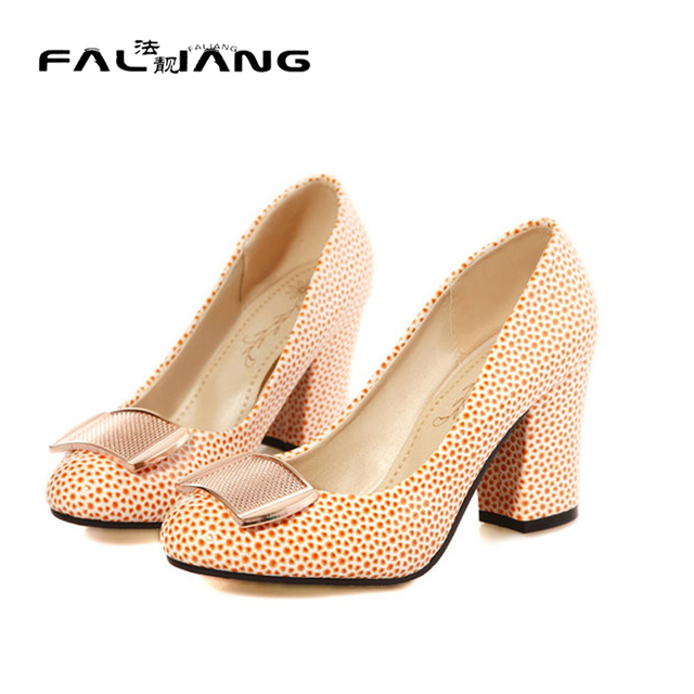 Fashion Spring summer Pumps nature leather office lady women shoes new arrival square high heels Women's sweet round toe Pumps