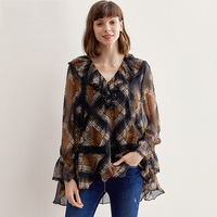 Women'S Silk Chiffon Shirt Summer Fashion V Neck Lace Stitching Ruffle 100% Silk Wild Loose Chiffon Shirt Ladies Plaid Shirt