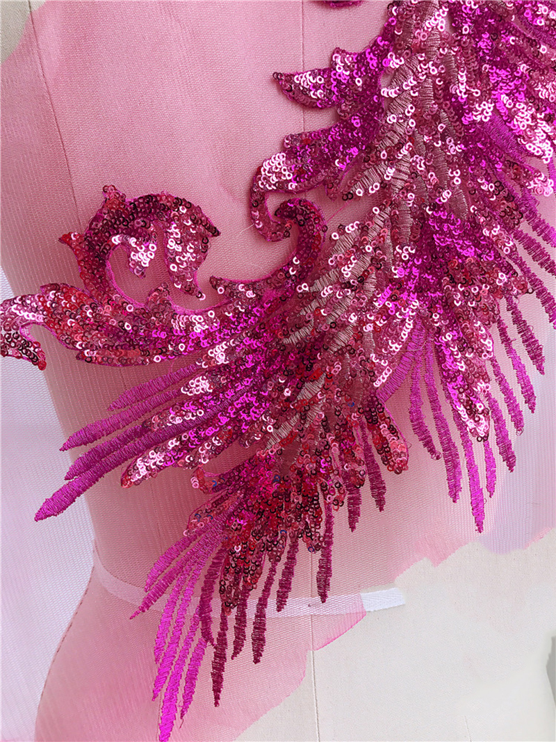 2 Pcs Exquisite 3D Beaded Sequins Lace Applique Mesh Lace Fabrics Lace Patch Sewing Trims Golden Sapphire Purple DIY Accessories in Lace from Home Garden