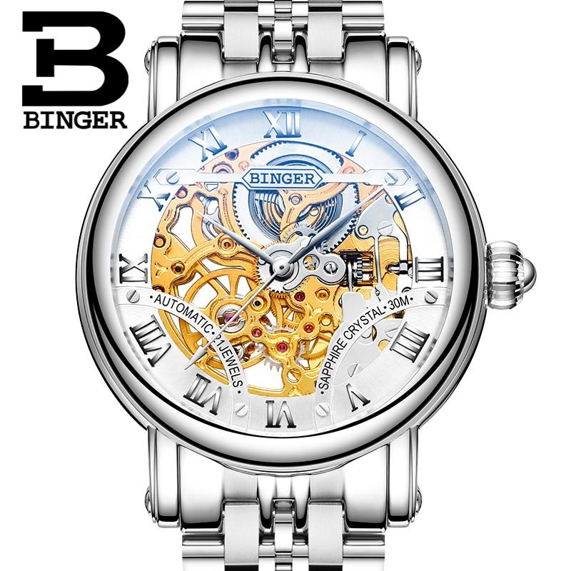 Couple Watch  Men Brand Mechanical Watch Steel Automatic Stylish Classic Skeleton Steampunk Wristwatch BINGER Relogio Masculino
