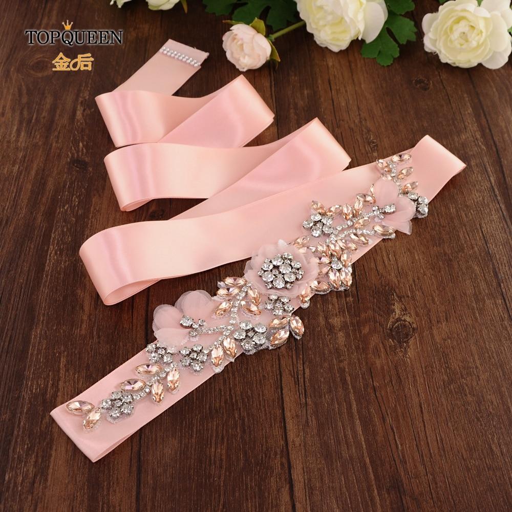 TOPQUEEN S419-R Wedding Dress Belt Blush Wedding Belt Rose Gold Flower Wedding Dress Belt With Flowers Pearls Wedding Dress Sash