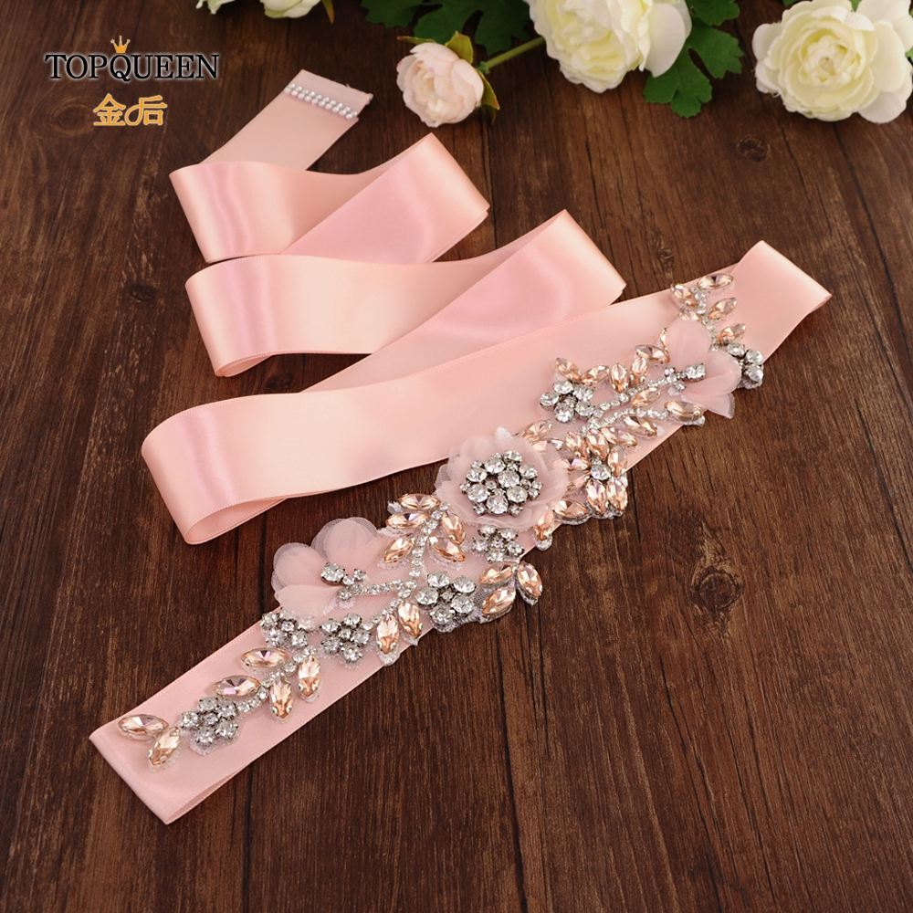 TOPQUEEN S419-R Wedding Dress Belt Blush Wedding Belt Rose Gold Flower Wedding Dress Belt With Flowers Pink Jeweled Belt