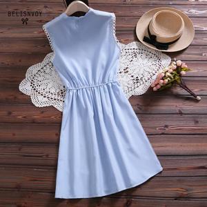 Image 3 - 2019 New Mori Girl Vintage Summer Women Dress Bowknot Sweet Cotton Linen Vestidos De Festa Sleeveless Plaid Robe Femme Sundress