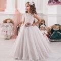 Lace Up Floral Apliques Ampla Plissada Menina Vestido Primeira Comunhão sem mangas Flor Decoração Faixa Criança Tule vestido de Baile 2-12 Anos velho
