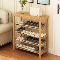 Полка для обуви из массива дерева многослойная простая Бытовая бамбуковая Современная Минималистичная сборка дверь для хранения полка для