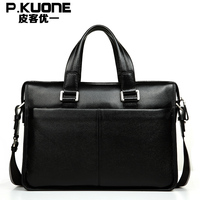 Hot Sale Masculine Briefcase Fashionable Soft Leather All Match Black Shoulder Bag Latest Casual BuSiness Trip