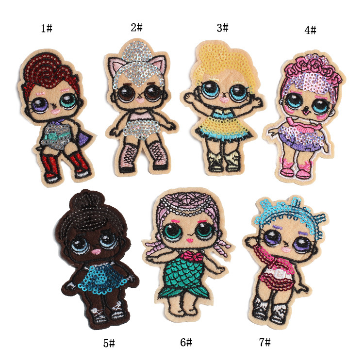 Cute Girl Patches Cloth Paste Cartoon Sequin Embroidery -7564